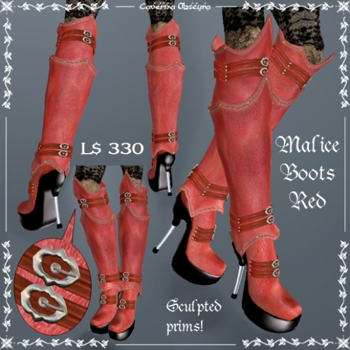 Malice Stiletto Boots RED by Caverna Obscura
