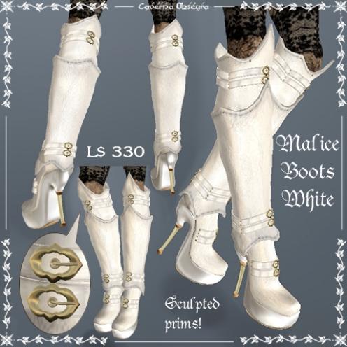 Malice Stiletto Boots WHITE by Caverna Obscura
