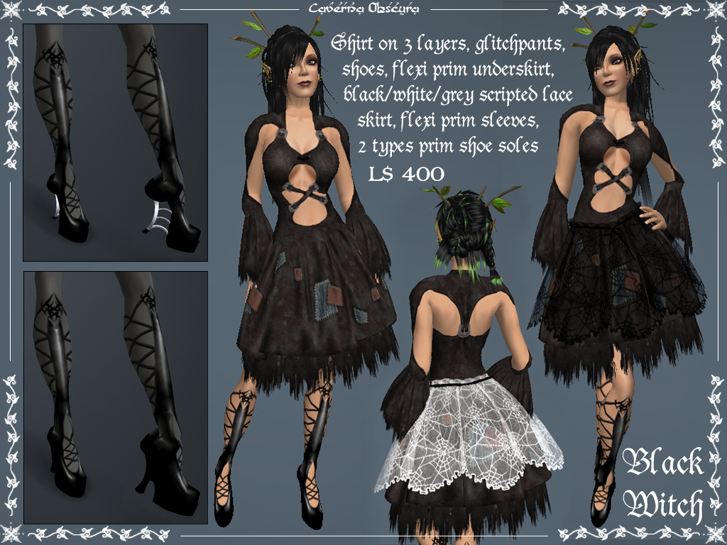 Black And White Witch Outfits Update By Caverna Obscura Caverna Obscura Fantasy Creations By Elvina Ewing