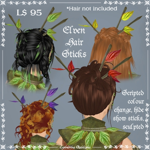 Elven Hair Sticks with leaves by Caverna Obscura