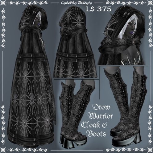 Updated Drow Warrior Cloak & Boots by Caverna Obscura