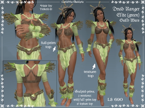 Elite Druid Ranger Armor in green by Caverna Obscura