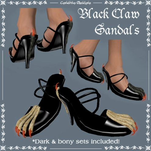 Claw Sandals in Black by Caverna Obscura