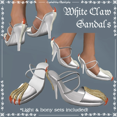 Claw Sandals in White by Caverna Obscura