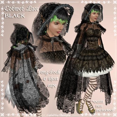 Cobweb Lace Cloak in Black by Caverna Obscura