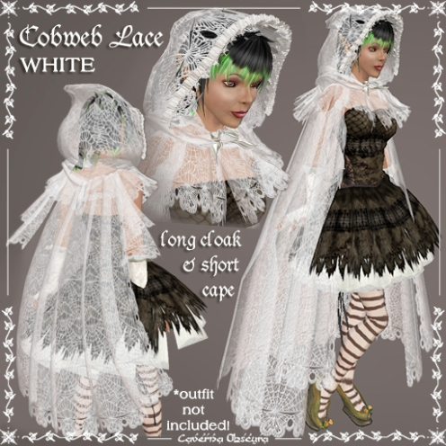 Cobweb Lace Cloak in White by Caverna Obscura
