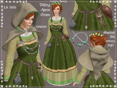 Viking Apron Gown GREEN