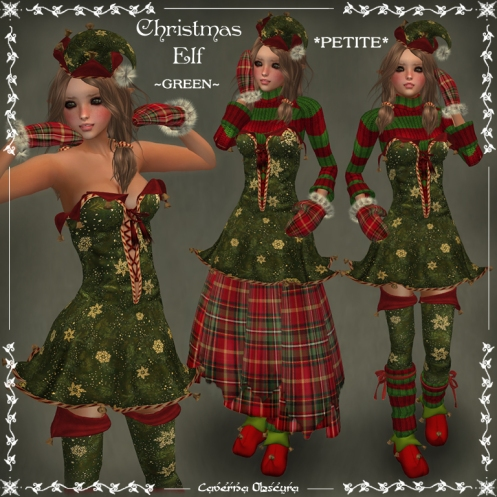*PETITE* Christmas Elf ~GREEN~ Outfit by Caverna Obscura