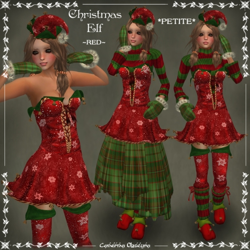 *PETITE* Christmas Elf ~RED~ Outfit by Caverna Obscura