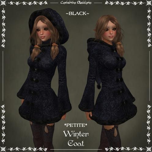 *PETITE* Winter Coat ~BLACK~ by Caverna Obscura