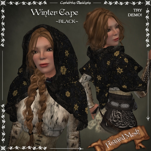 Winter Cape ~BLACK~ (rigged mesh) by Caverna Obscura