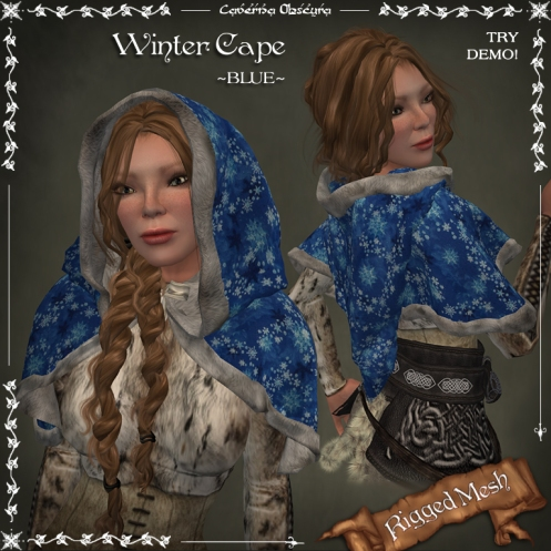 Winter Cape ~BLUE~ (rigged mesh) by Caverna Obscura