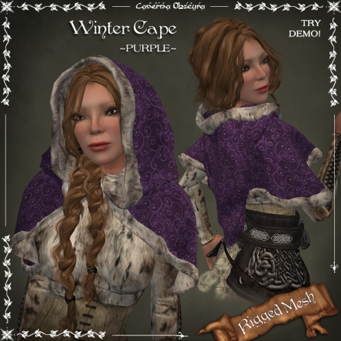 Winter Cape ~PURPLE~ (rigged mesh) by Caverna Obscura