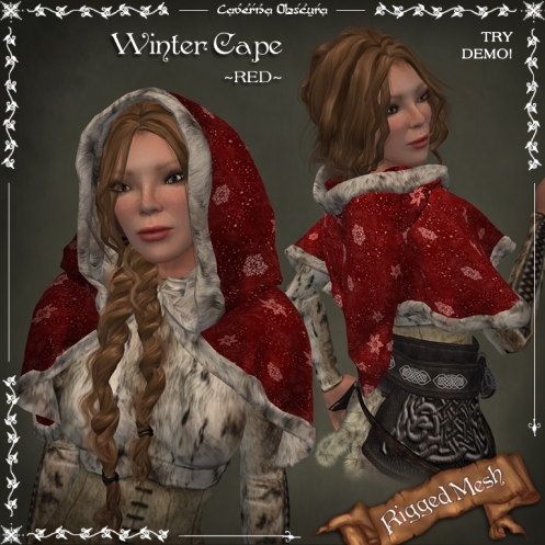 Winter Cape ~RED~ (rigged mesh) by Caverna Obscura