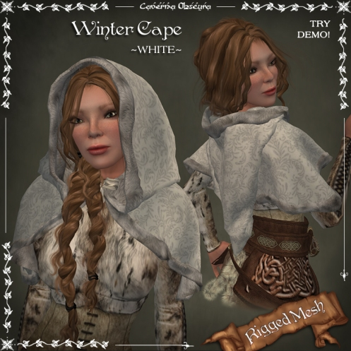 Winter Cape ~WHITE~ (rigged mesh) by Caverna Obscura