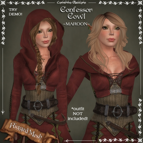 Confessor Cowl ~MAROON~ by Caverna Obscura