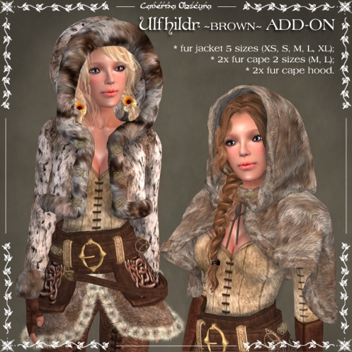 Ulfhildr ~BROWN~ Mesh Jacket & Cape ADD-on by Caverna Obscura