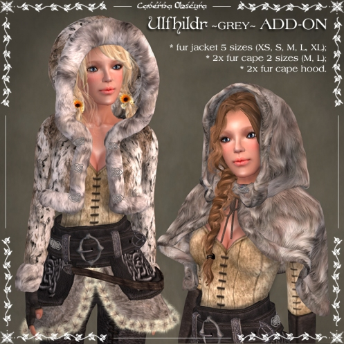 Ulfhildr ~GREY~ Mesh Jacket & Cape ADD-on by Caverna Obscura