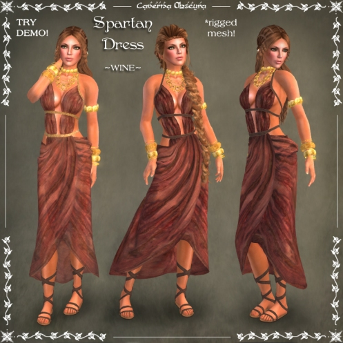 Spartan Dress ~WINE~ by Caverna Obscura