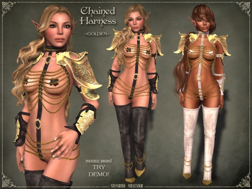 Chained Harness ~GOLDEN~ by Caverna Obscura