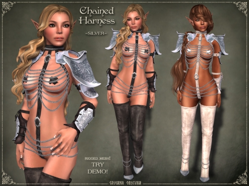 Chained Harness ~SILVER~ by Caverna Obscura