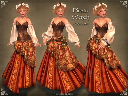 Pirate Wench Outfit *MAROON* by Caverna Obscura