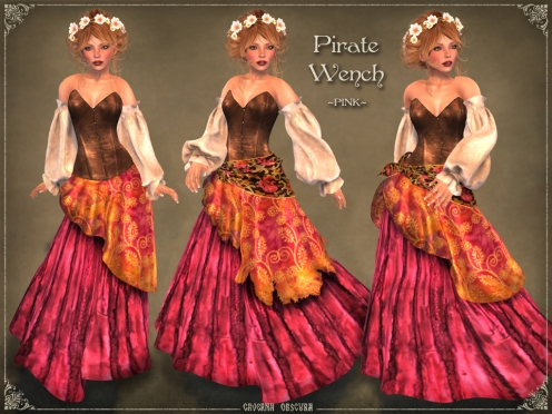 Pirate Wench Outfit *PINK* by Caverna Obscura
