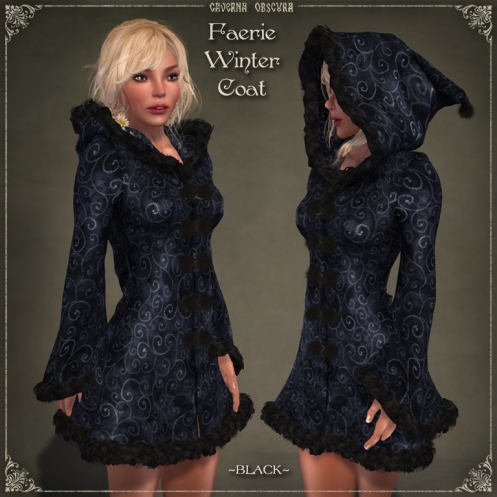 Faerie Winter Coat *BLACK* by Caverna Obscura