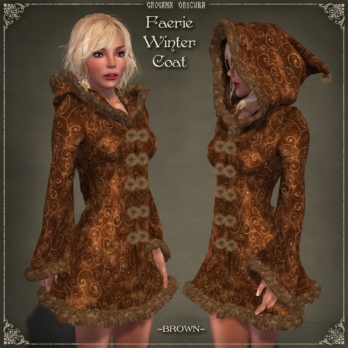 Faerie Winter Coat *BROWN* by Caverna Obscura