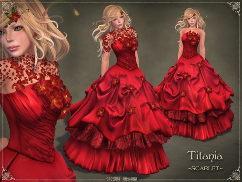 Titania Gown *SCARLET* by Caverna Obscura