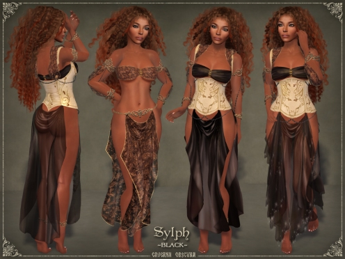 Sylph Silks *BLACK* for mesh bodies by Caverna Obscura