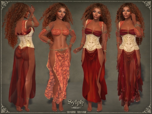 Sylph Silks *RED* for mesh bodies by Caverna Obscura