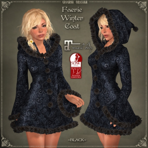Faerie Winter Coat *BLACK* for mesh bodies