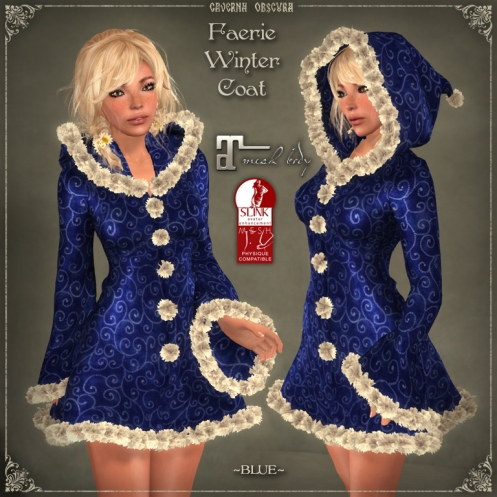 Faerie Winter Coat *BLUE* for mesh bodies