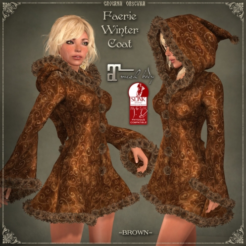 Faerie Winter Coat *BROWN* for mesh bodies