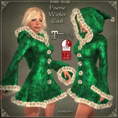 Faerie Winter Coat *GREEN* for mesh bodies
