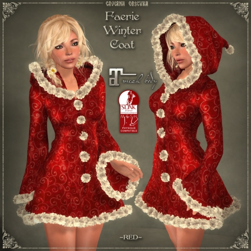 Faerie Winter Coat *RED* for mesh bodies