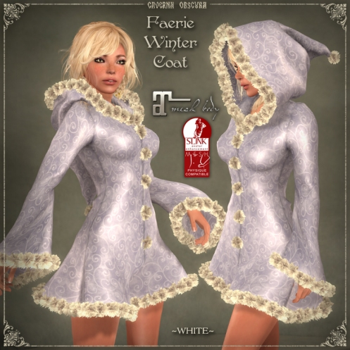 Faerie Winter Coat *WHITE* for mesh bodies