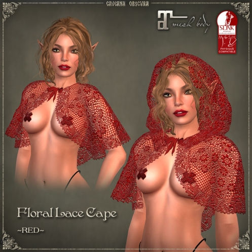 Floral Lace Cape *RED* by Caverna Obscura