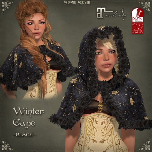 Winter Cape *BLACK* by Caverna Obscura