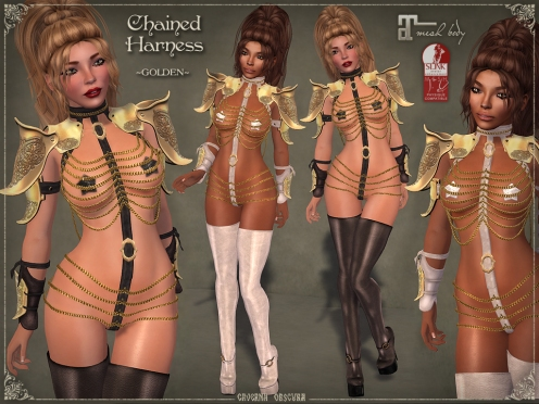 Chained Harness *GOLDEN* for mesh bodies by Caverna Obscura